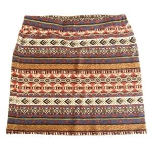 Ya Los Angeles Tribal Aztec Printed Mini Skirt